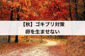 【秋】ゴキブリ対策 卵を生ませない