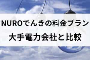 NUROでんきの料金プラン|大手電力会社と比較して高い?安い?
